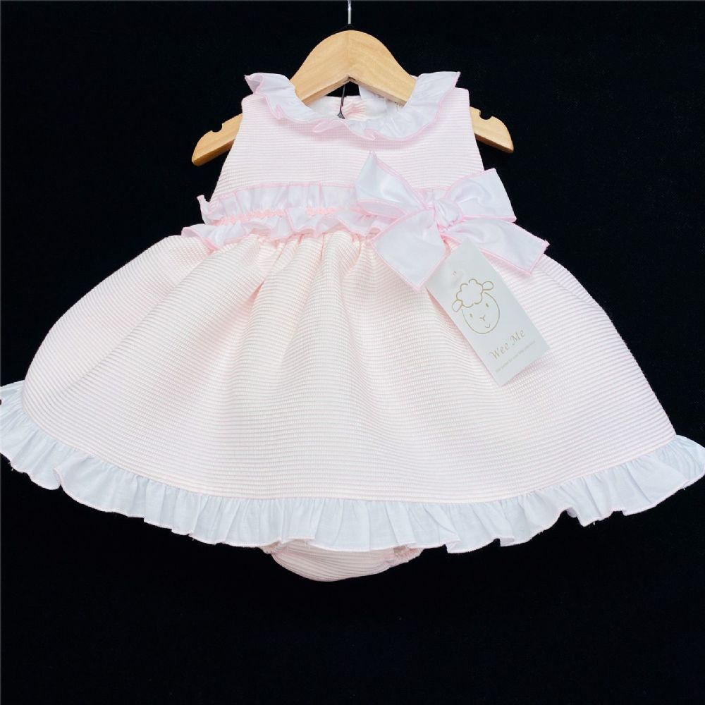 * Baby Girl Spanish Pink Bow Puff Dress with Pants Set